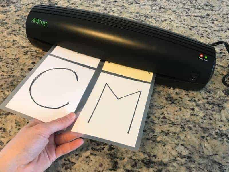 Laminating letter cards