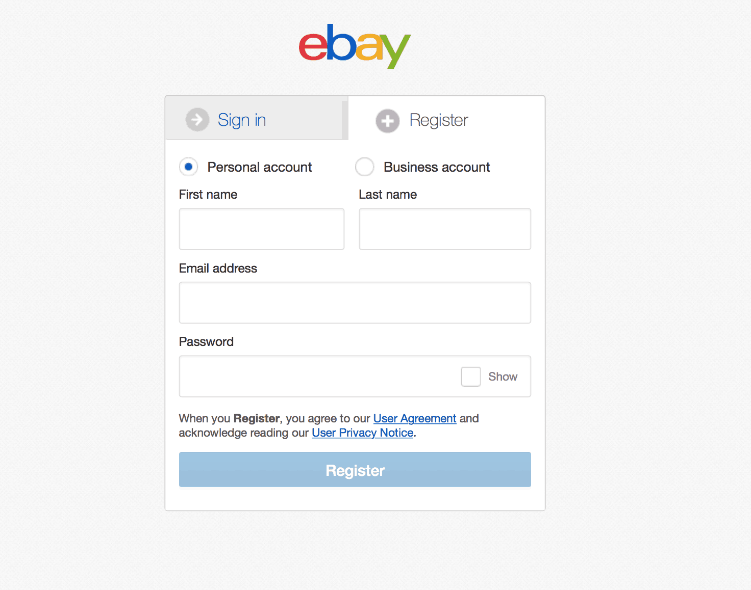 A screenshot of the ebay app
