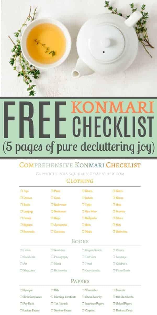 A zen image of a KonMari checklist