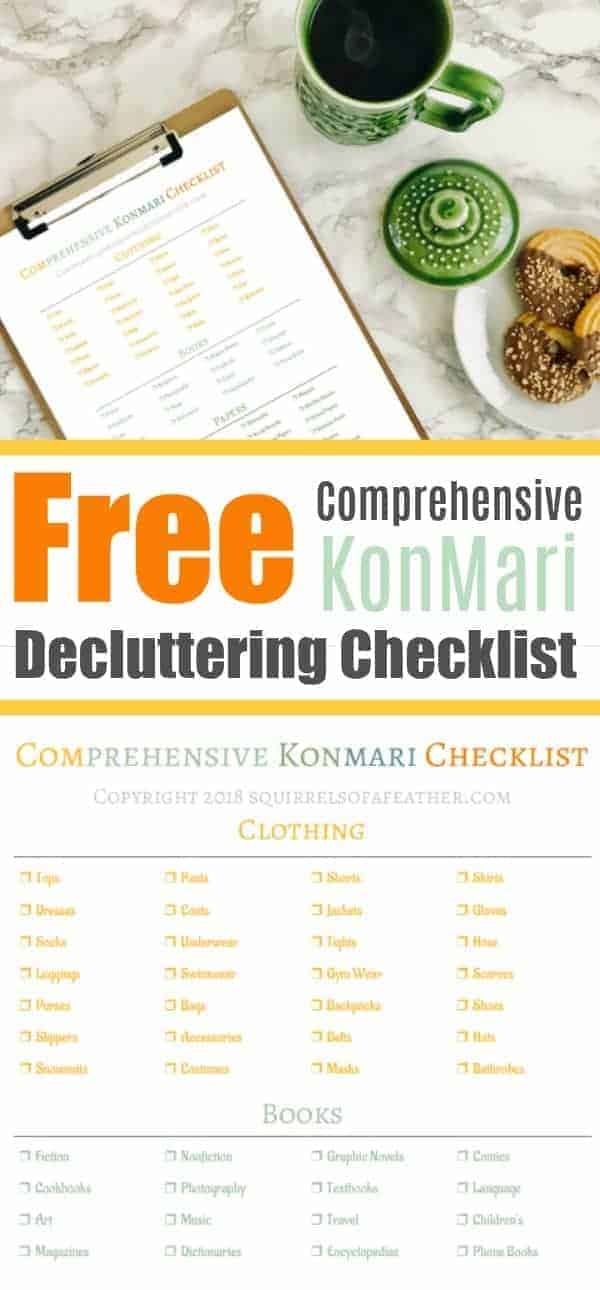 A colorful free KonMari checklist