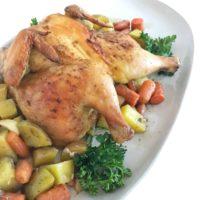 Roasted Cornish Hen Over Vegetables
