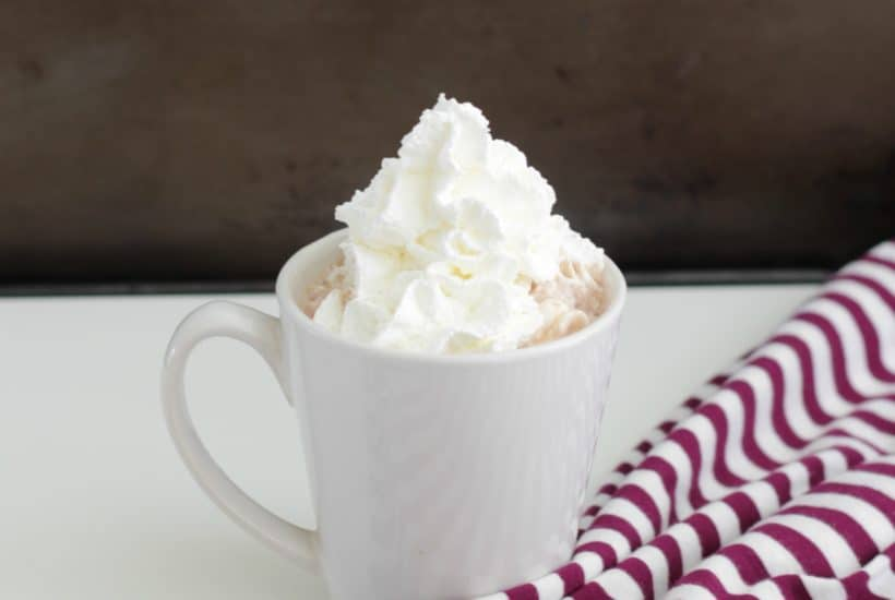 A cup of peppermint hot chocolate with whipped cream