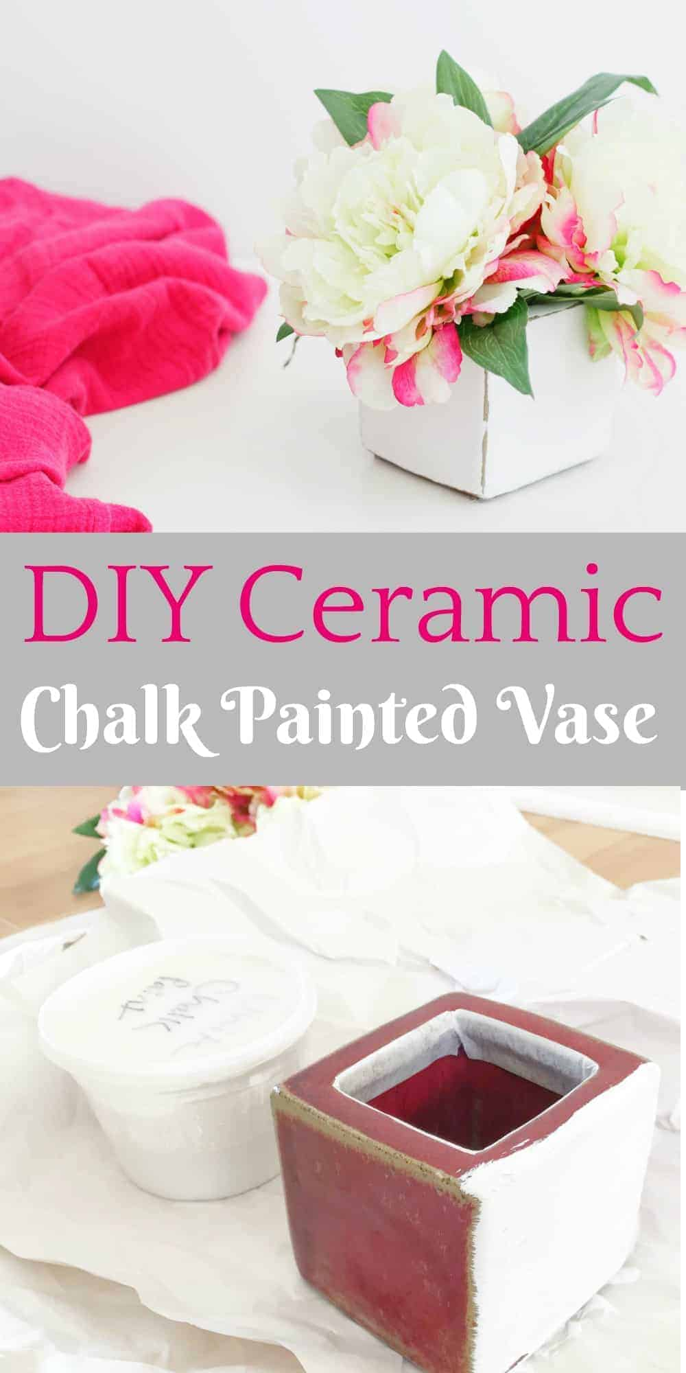 A white chalk painted vase with pink peonies