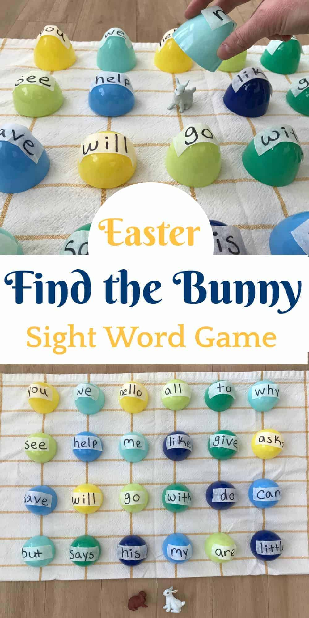 Easter egg sight reading game with hidden bunny