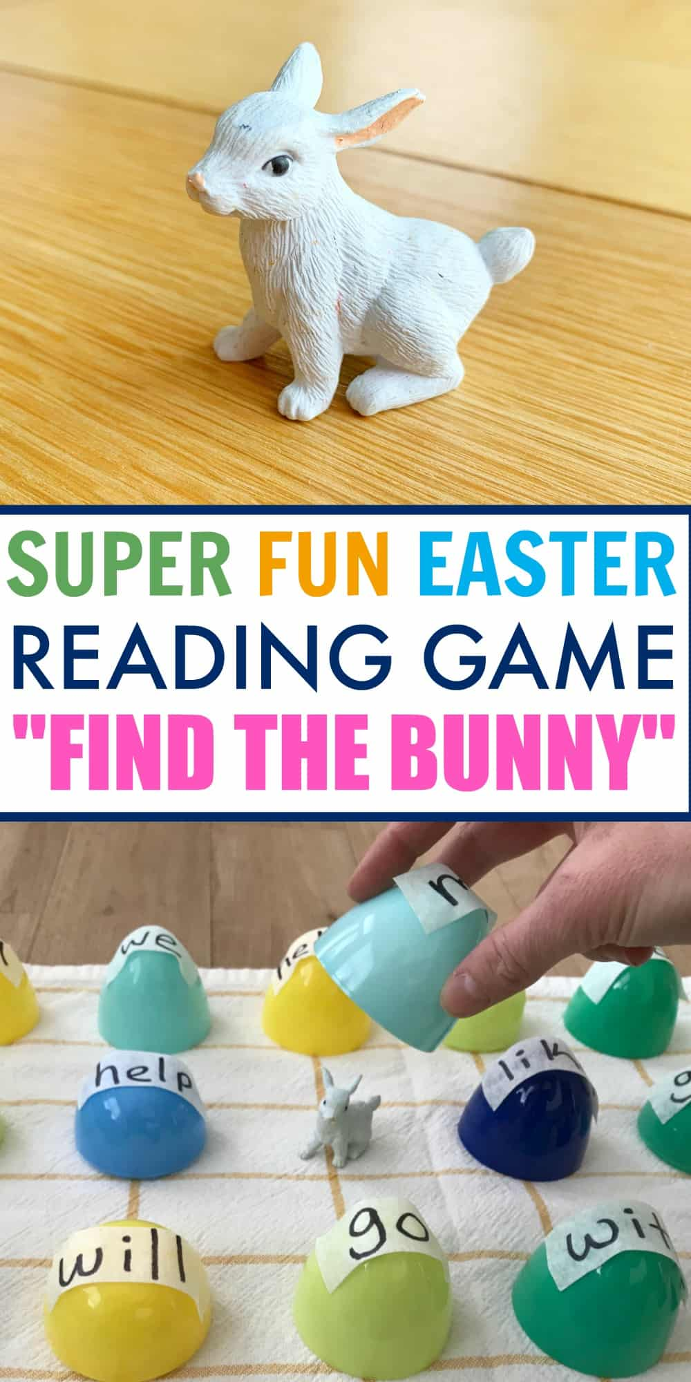 A cute white bunny being used for an Easter game