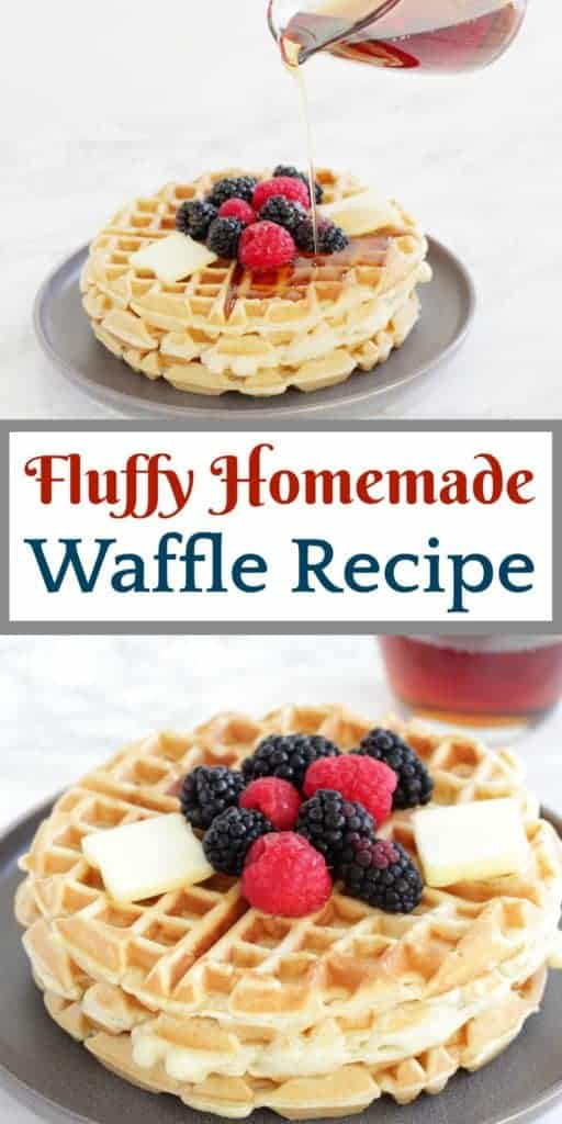 Long, vertical image of waffle recipe