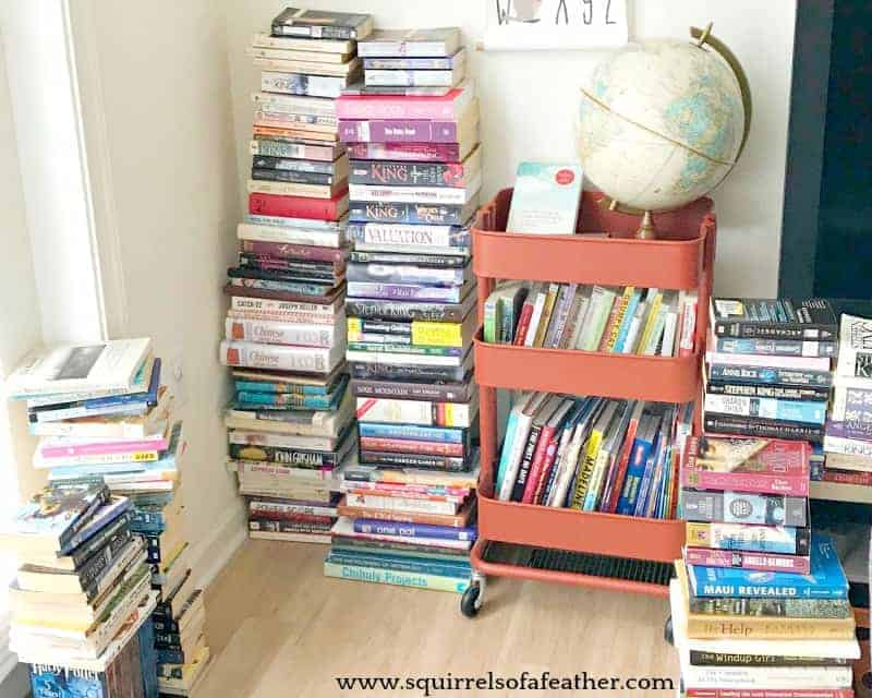 A large pile of books being decluttered