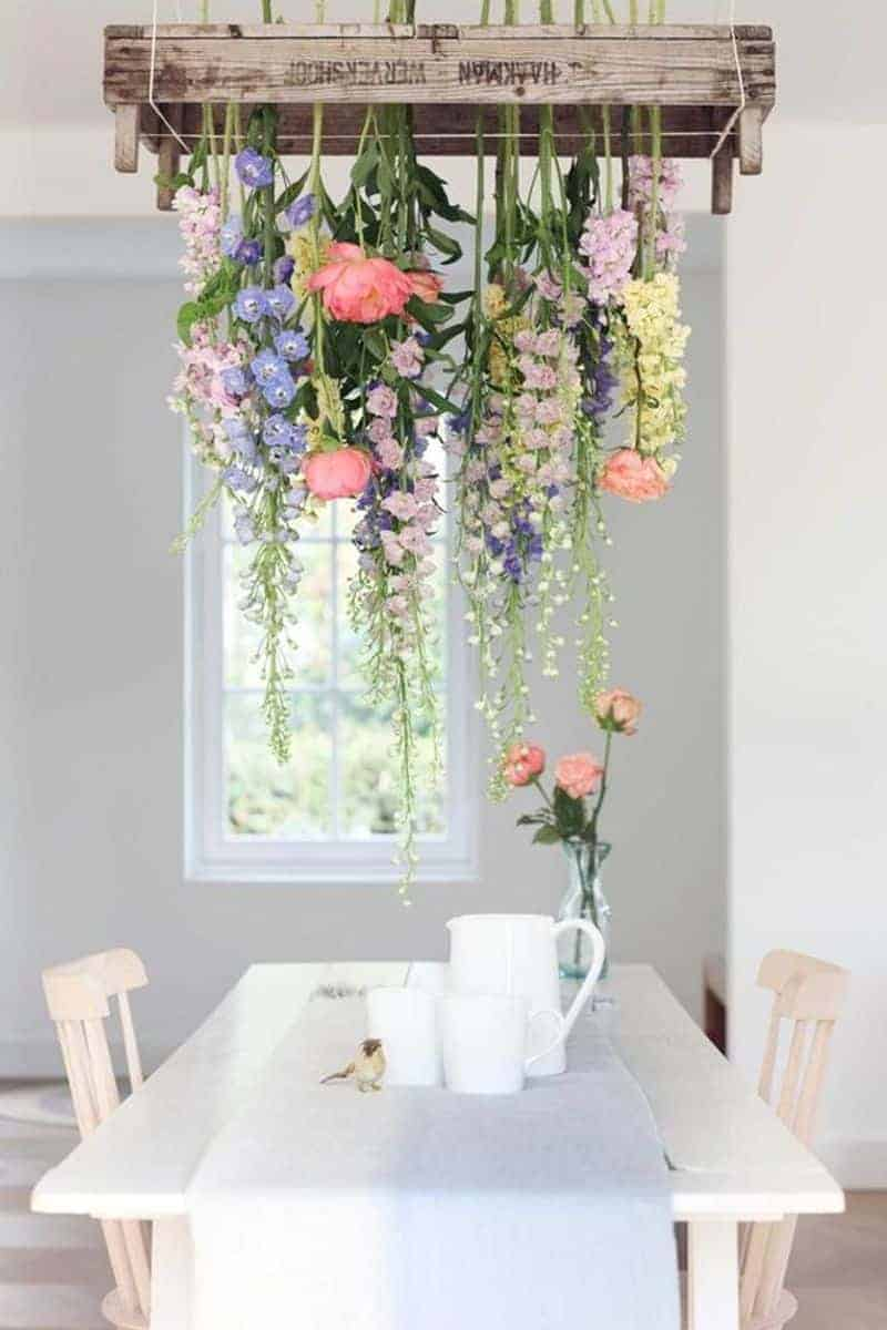 Spring flowers hanging over a table