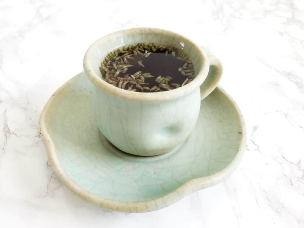 Lavender Earl Grey tea in aqua teacup