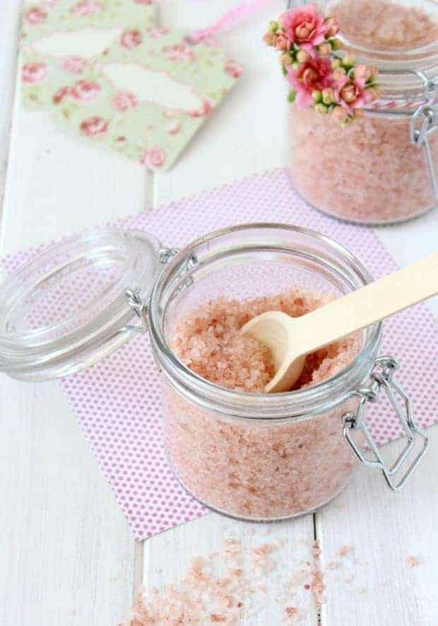 Homemade pink grapefruit salk soak in jar