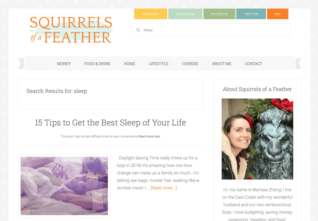 A screenshot of the Squirrels of a Feather blog