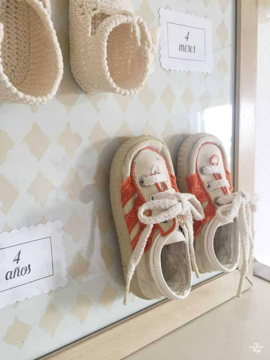 DIY baby shoe memory frame.