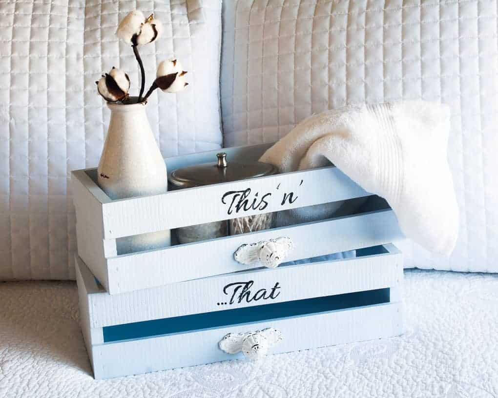 DIY farmhouse style wooden crates with decorative knobs