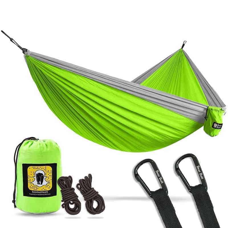 A green camping hammock