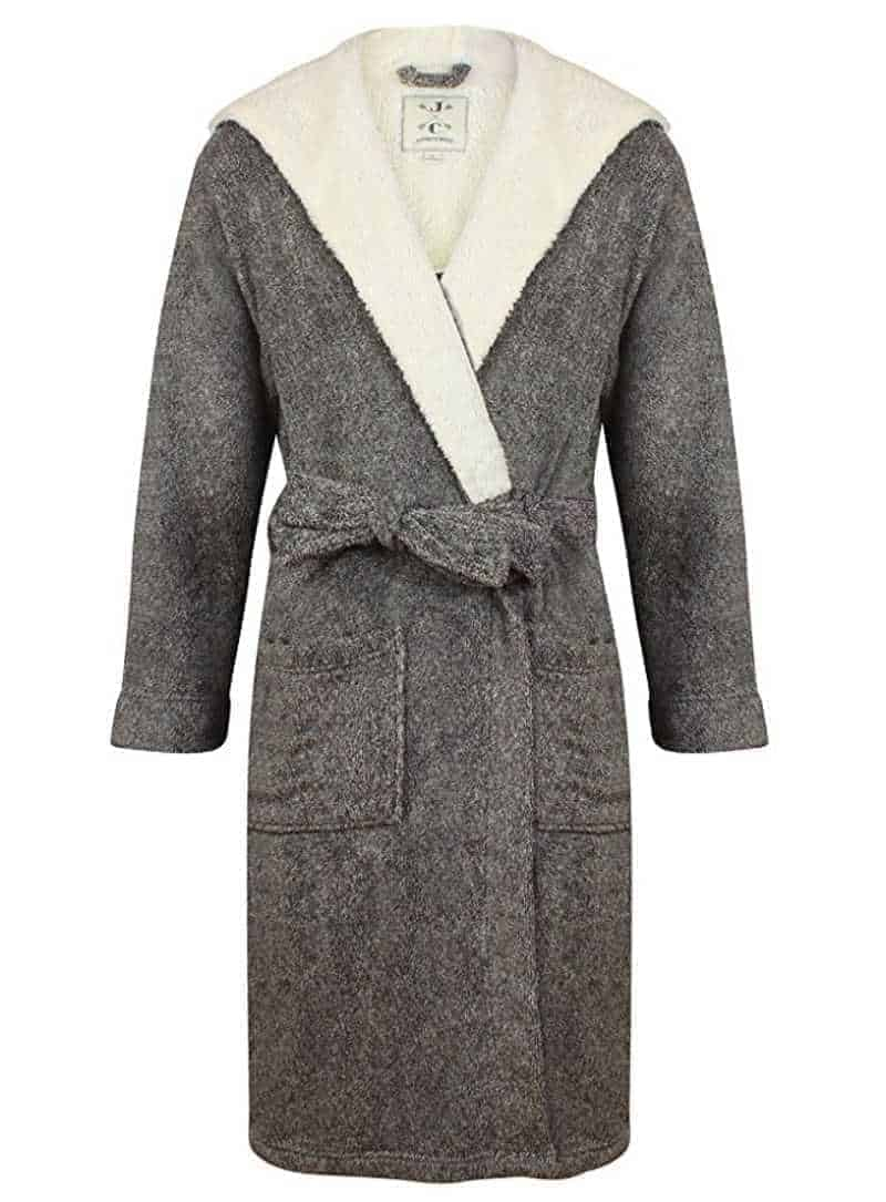 A warm men's fleece bathrobe