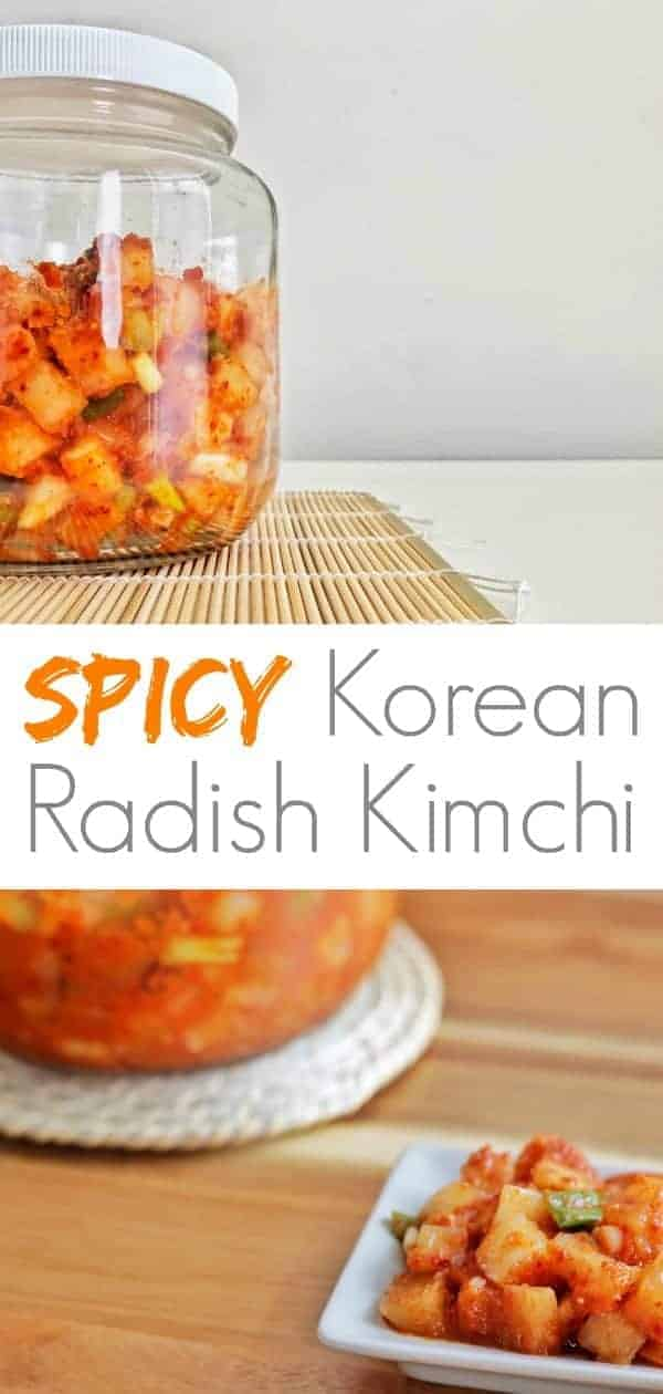A jar and plate of radish kimchi on a table