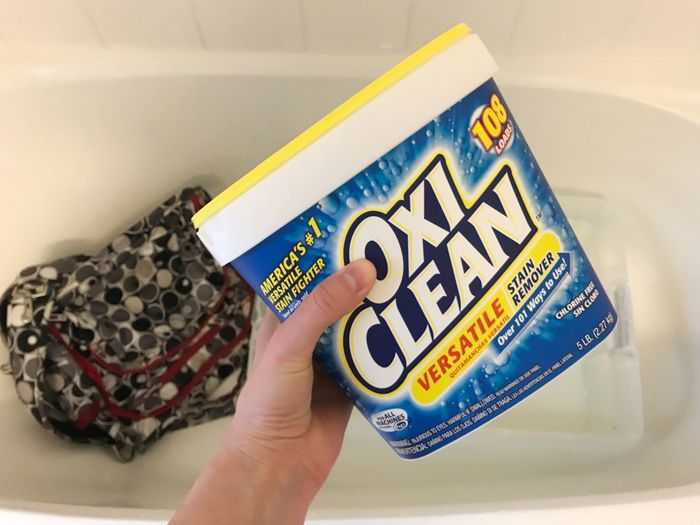 Using OxiClean to clean JuJuBe bag
