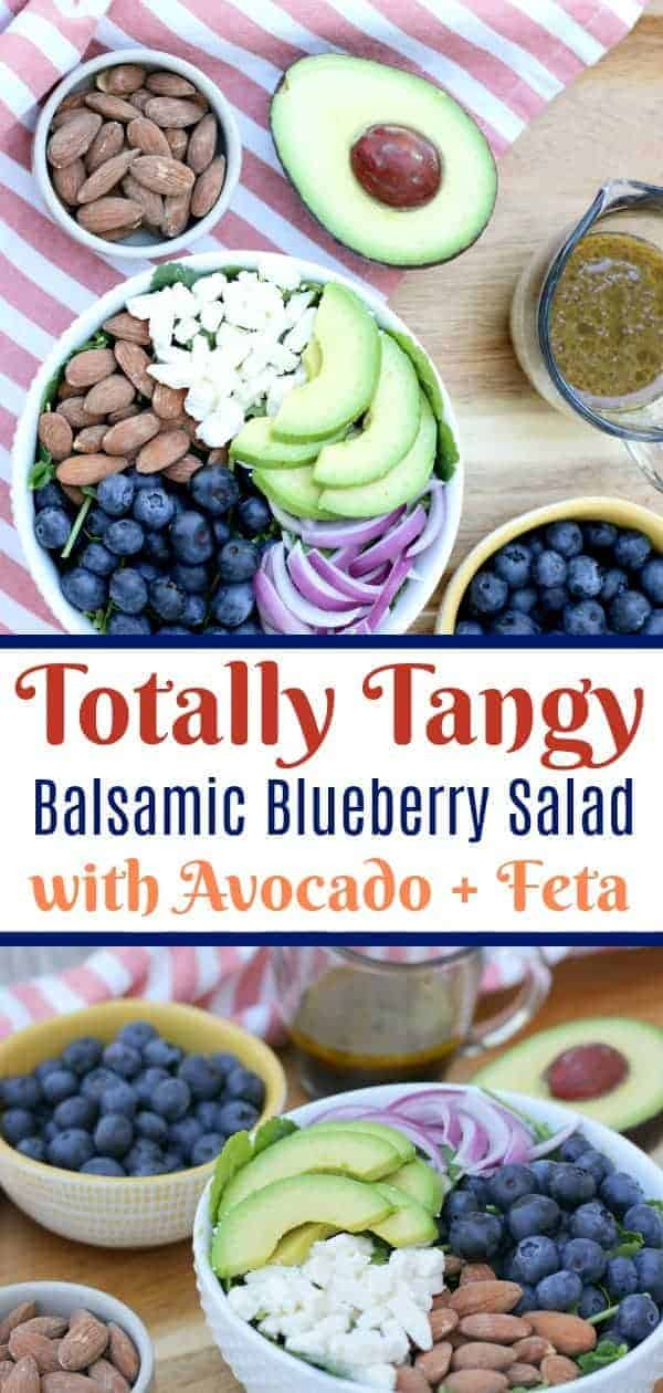 A blueberry salad with avocado and feta cheese