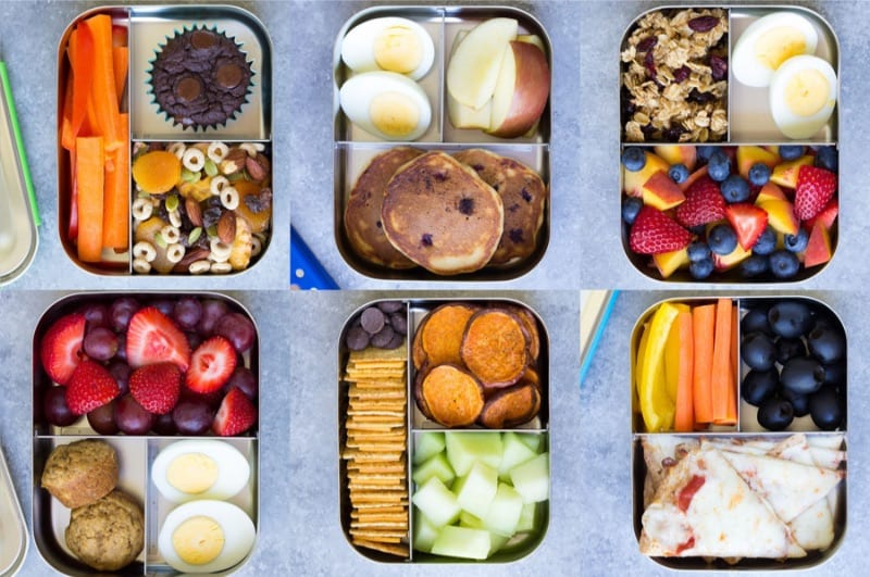 Easy healthy lunches boxes on a grey table