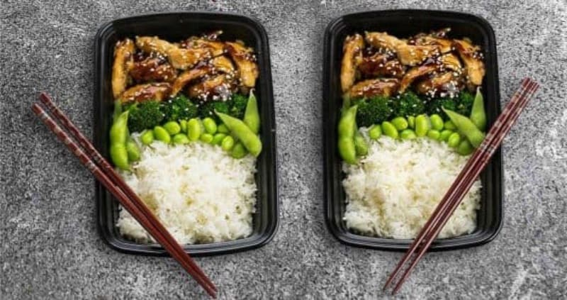 Close up of healthy teriyaki chicken lunch box