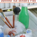 Sensory activity with ice and plastic toys