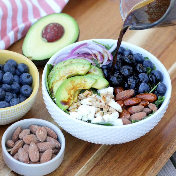 Tangy Balsamic Blueberry Salad with Avocado and Feta Cheese