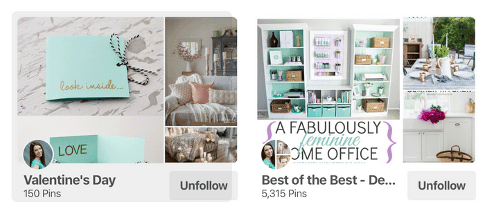 Screenshot of how to find group board on Pinterest