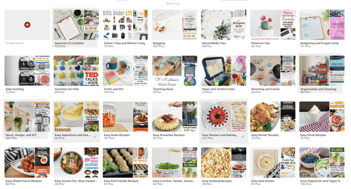 A screenshot of a well-organized Pinterest profile