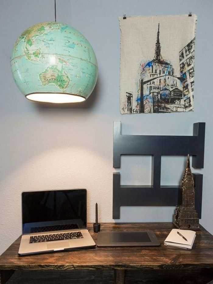 A light made from a vintage globe