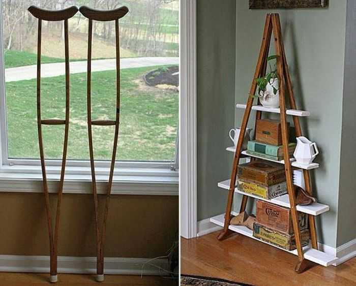 Al bookshelf built from crutches