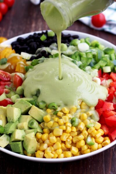 Close up of healthy vegan lunch salad