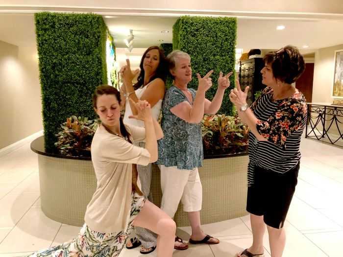 A picture of bloggers doing the Charlie's Angels pose