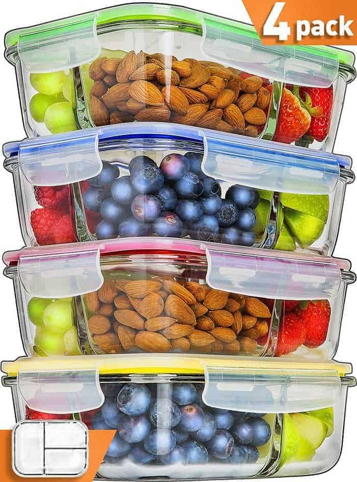Glass meal prep stacking containers