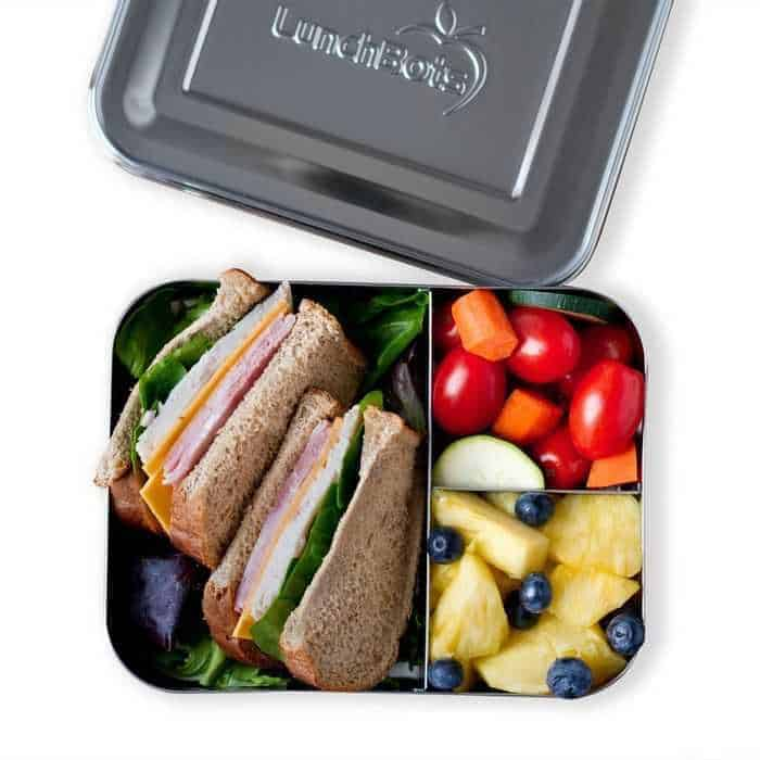 A stainless steel lunch bento