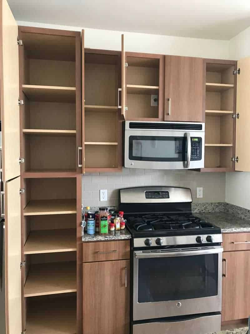 Cabinets emptied during KonMari method