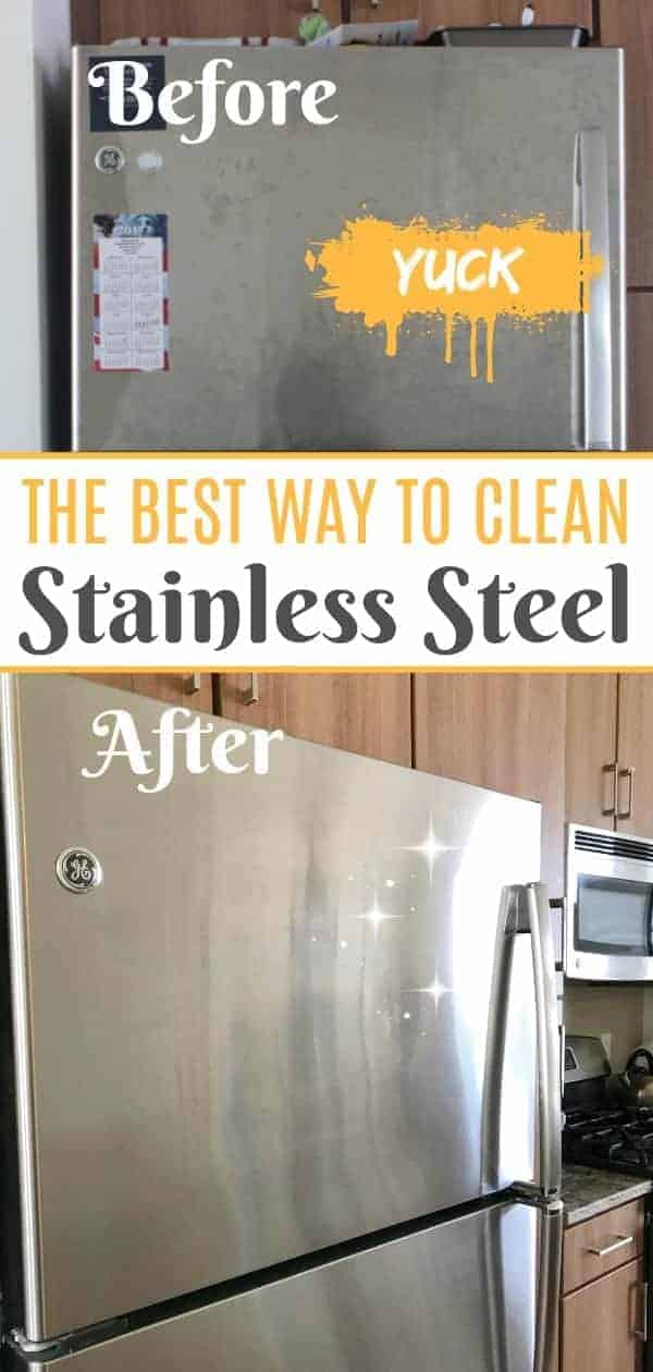 Before And After Comparison Of Clean Stainless Steel Fridge