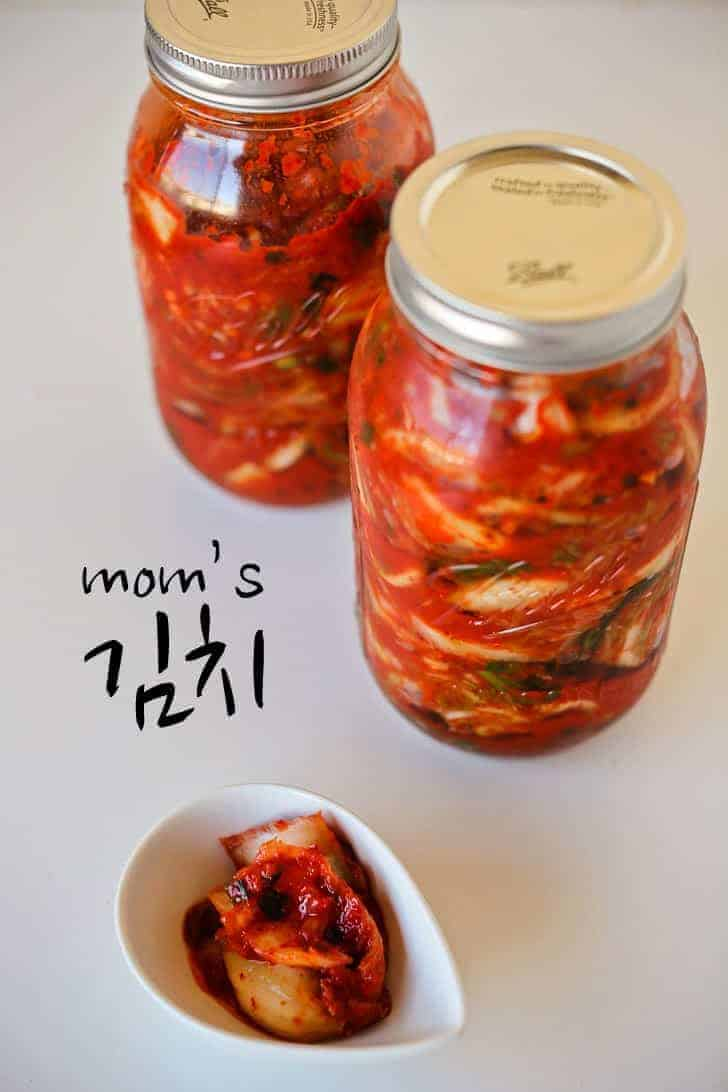A jar of spicy red kimchi
