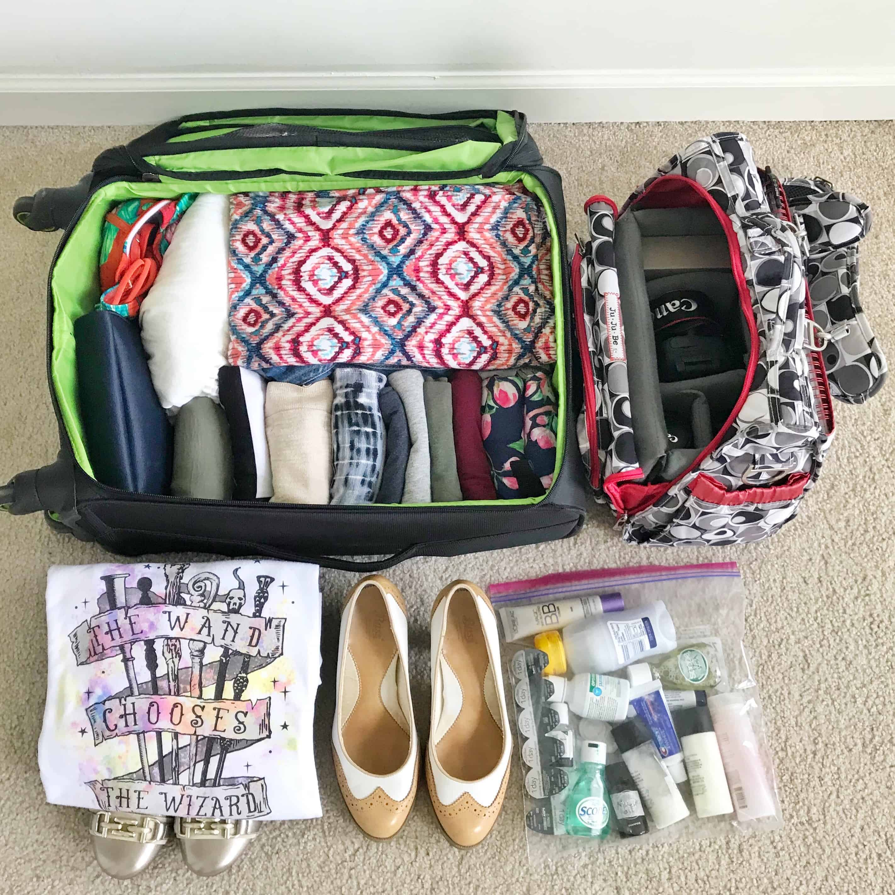 A well organized carry-on suitcase
