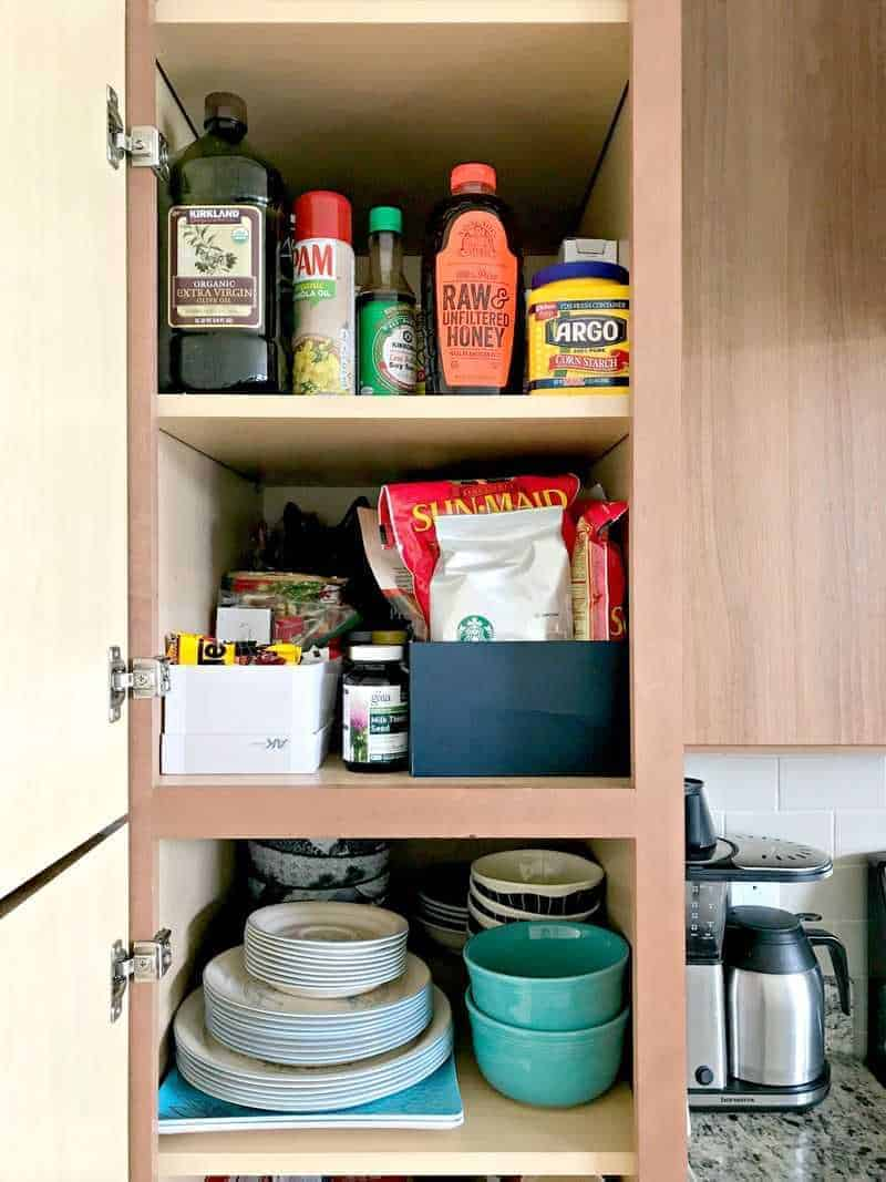 Using boxes to organize kitchen