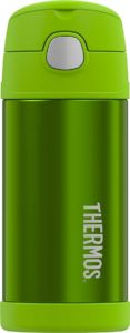 A green metal thermos