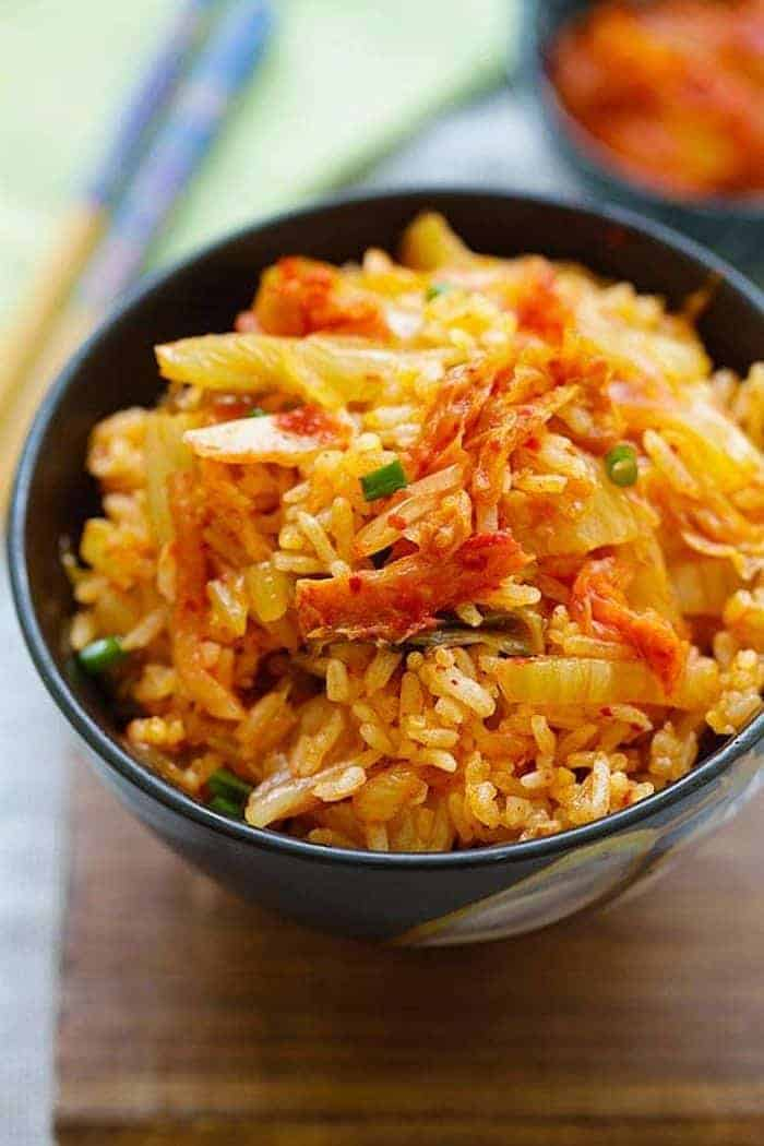 A close up of Kimchi fried rice