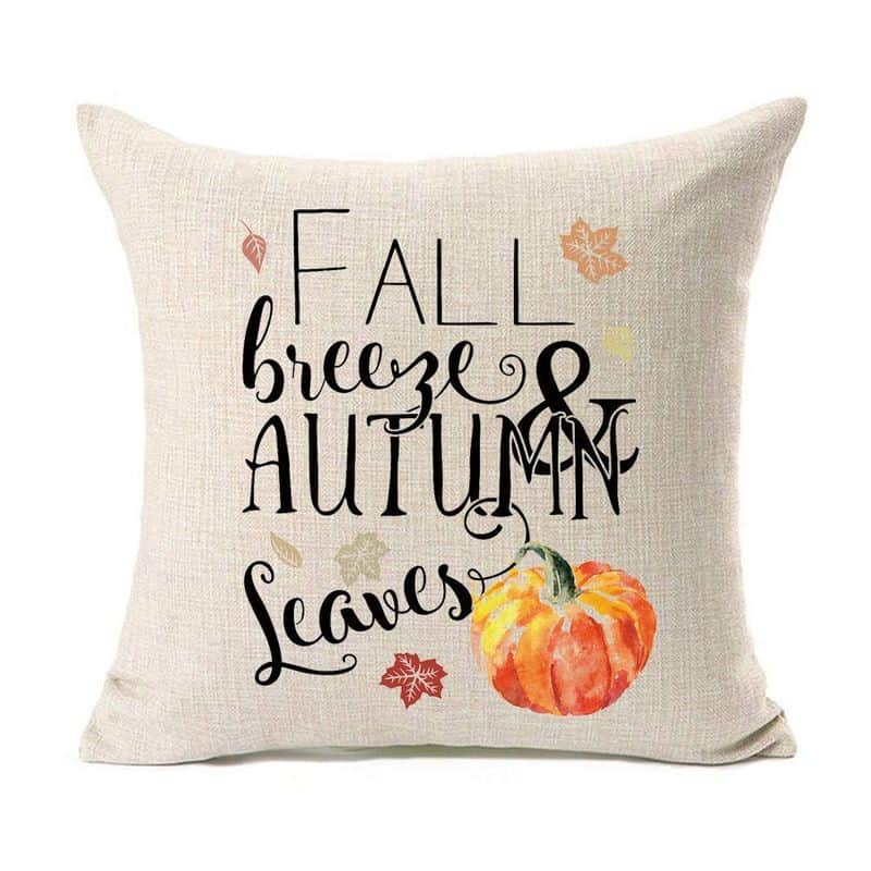 Fall pillow cover with a pumpkin on it