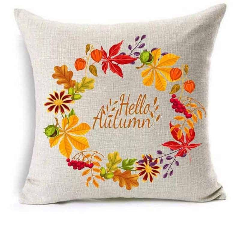 """A """"hello autumn"""" fall pillow"""