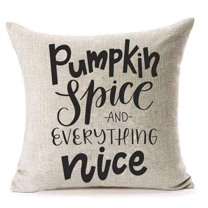 Pumpkin spice burlap pillow for cheap