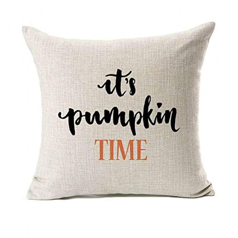 """A pillow that reads """"Pumpkin Time"""""""