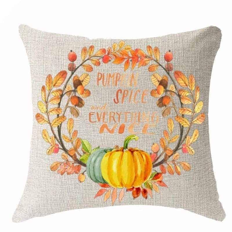 Autumn wreath pillow cover
