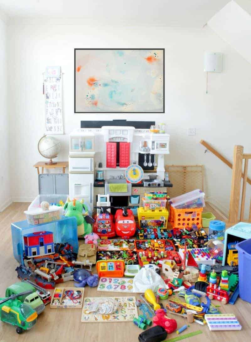 Toys about to be decluttered with KonMari
