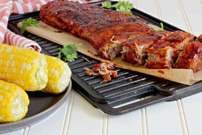 Instant Pot BBQ ribs and corn on a table