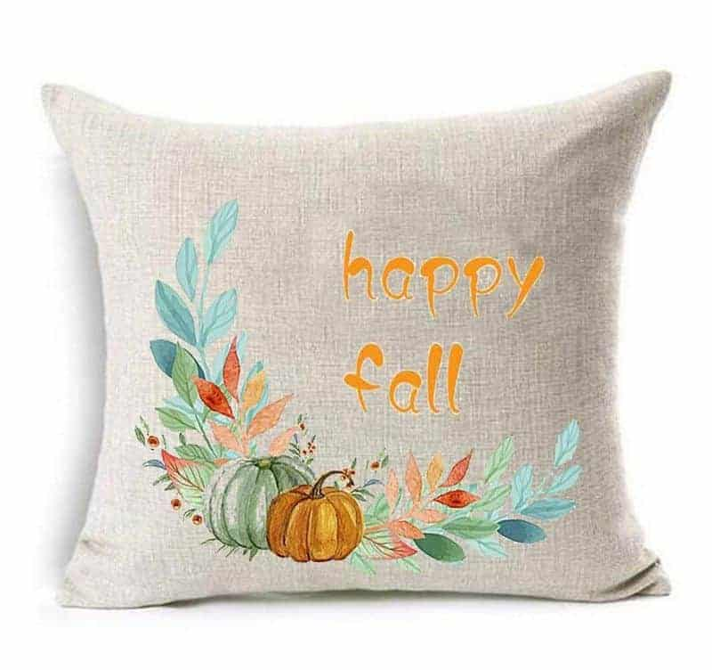 Affordable fall pillow with oranges, blues, and reds