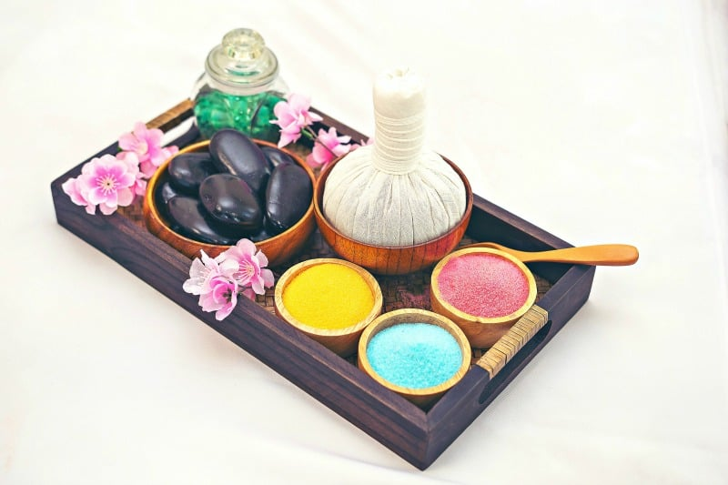 A beautiful minimalst tray with tea and soaps